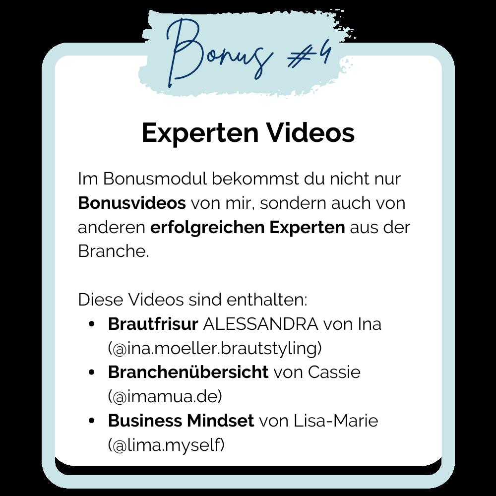 Online Make-up Artist Kurs Bonus 4: Experten Videos
