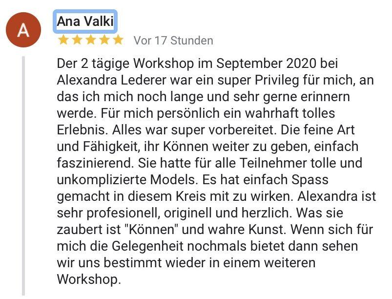 Make-up Workshop Bewertung Alexandra Lederer