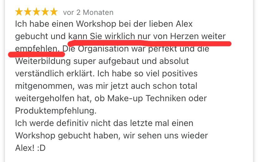 Make-up Workshop Bewertung