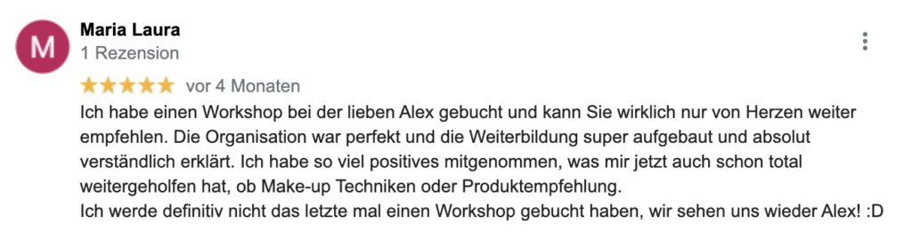 Make-up Workshop Bewertung